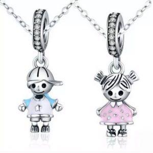 Little Boy & Little Girl Dangle Charm Bundle Set